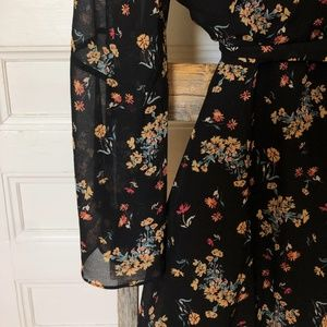FREE PEOPLE Lilou Floral Bell Sleeve Mini Dress